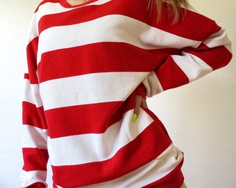 Where's Waldo Red and White Striped Long Oversized Sweater - Size 2 - Women's Sweater with Pockets - Sweater Dress - Vintage Inspired