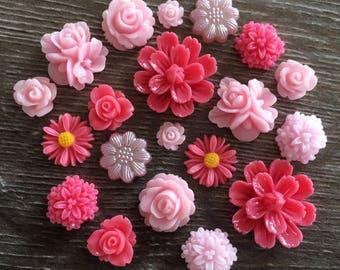 20 x Light Pink Rose Pink Flower Rose Flatback Embellishments Cabochon Craft DIY