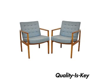 Pair of Florence Knoll International Mid Century Modern Lounge Arm Chairs Vintage