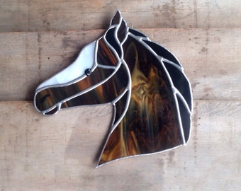 Western decor, rustic home decoration, farmhouse decor, horse gifts, western gifts, brown horse, rustic western decor, stained glass horse