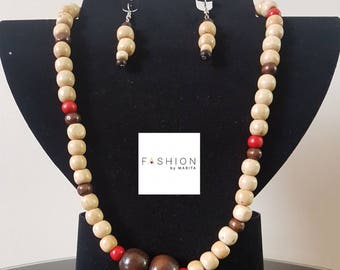 Wooden Beads Necklace and Earrings/Handmade