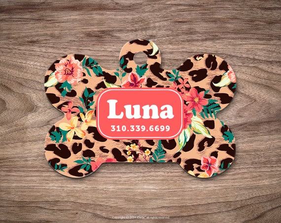 Dog Tag Floral Leopard Dog Tag for Collar Cute Pet ID Tag Custom Dog Name Tag Puppy Tag Personalized Dog ID Tag Custom Pet Tag for Dog