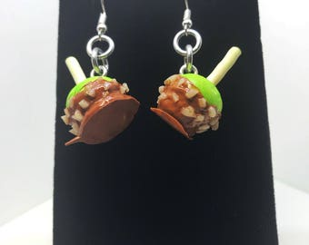 Carmel Apple Earrings - Handmade -  Dangle - Gift - Birthday - Anniversary - Polymer Clay  - Unique - Food Jewelry - Fruit