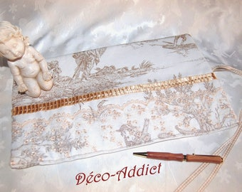 Kit toile de Jouy Ecru for storing accessories, makeup, pens, pencils