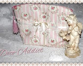 Shabby - Roses Medallion - pure cotton designer fabric makeup bag