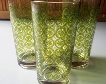 Set of 3 Mid Century Green Geometric Pattern Tumblers