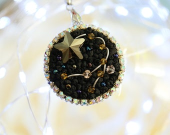 """Necklace round pendant """"Constellation"""" embroidered with silk ribbons on a silver chain"""