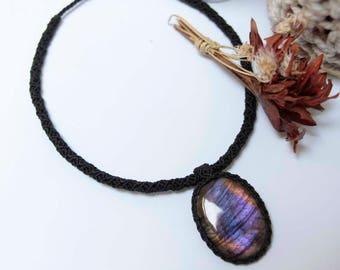 Magic labradorite macrame necklace