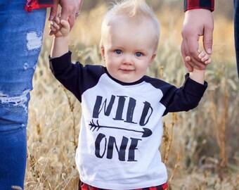 Wild One Birthday Boy Raglan Shirt, Boys 1st Birthday,Toddler Raglan Tee, 1st Birthday Plaid Outfit, Buffalo Plaid First Birthday Outfit