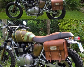 Cafe racer scrambler custom leather bag. Midium brown color with Triumph lasered logo. Bonneville.
