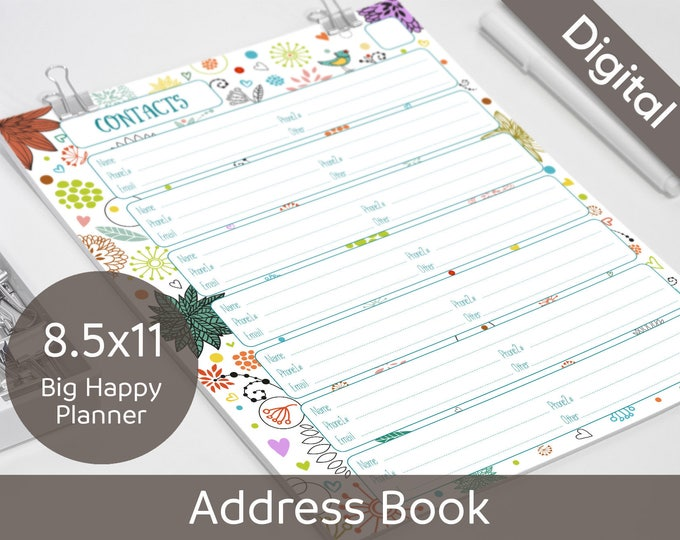 picture about Cute Printable Address Book known as 8.5x11 Cover Reserve Internet pages Printable, Contacts, Letter, Large Joyful Planner, 2 styles, Syasia Lovely Floral, Do it yourself Planner PDF Fast Down load