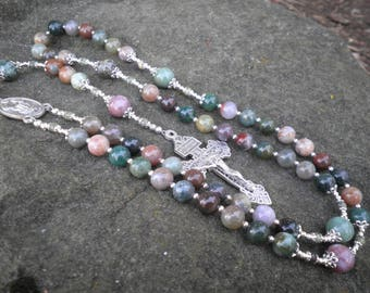 Classic Rosary - India Agate and Tourmaline
