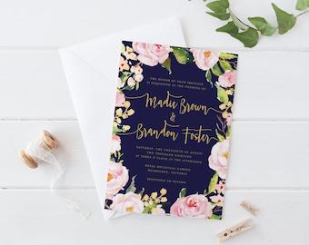 Printable Wedding Invitation Set, Rose Pink Navy Gold Wedding Invitation, Pastel Blush Rose Wreath Navy Blue Wedding Invitation Set