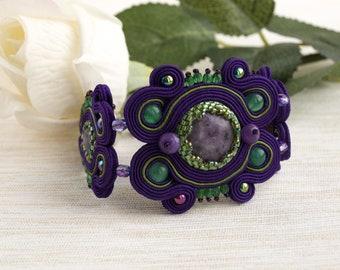Soutache wrist cuff bracelet, handmade purple bracelet with stone, statement embroidery bracelet, gift for her, beaded cuff bracelet