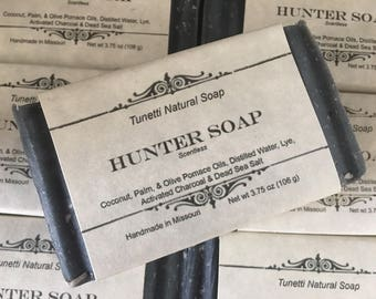 Hunter Soap - Unscented Natural Homemade Soap (activated charcoal and sea salt), Handmade soap, Natural Soap, Cold Process Lye Soap