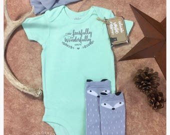 I Am Fearfully and Wonderfully Made Onesie with Fox Socks