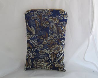 Brocade Tarot Card Bag Blue and Gold Flowers with Gold Satin Lining and Zipper Dice Makeup Pouch Fancy