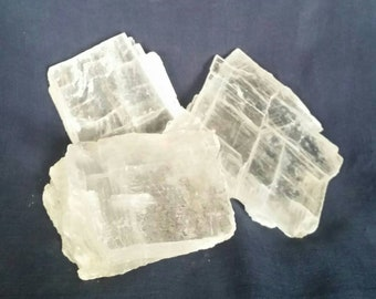 Three Selenite Crystals / Raw Crystal / Meditation Gemstone  / Healing Crystal / Quartz Crystals / Reiki / Chakra / Selenite Slab / White