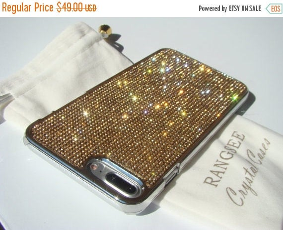 Sale iPhone 7 Plus Gold Topaz Diamond Rhinestone Crystals on Silver Chrome Case. Velvet Pouch Included, Genuine Rangsee Crystal Cases