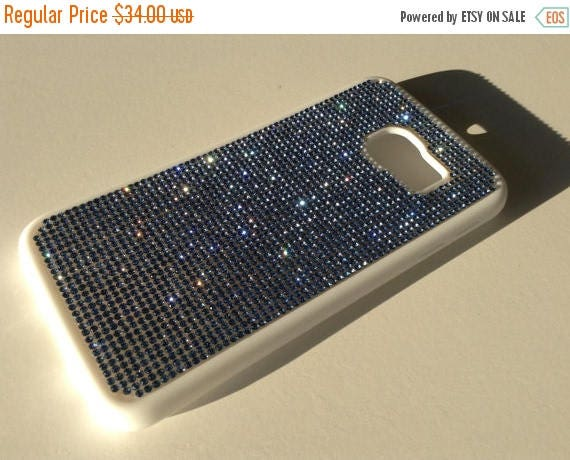Sale Galaxy S6 Edge Blue Sapphire Diamond Crystals on White Rubber Case. Velvet/Silk Pouch Bag Included, Genuine Rangsee Crystal Cases.