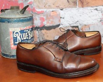 Vintage Allen Edmonds Leeds Chestnut Brown Leather Men's Smooth Toe Dress Shoes Size 12D--Made in the USA
