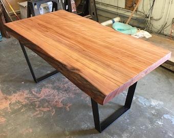 Live Edge Redwood Slab Table On Steel Flat Bar Legs