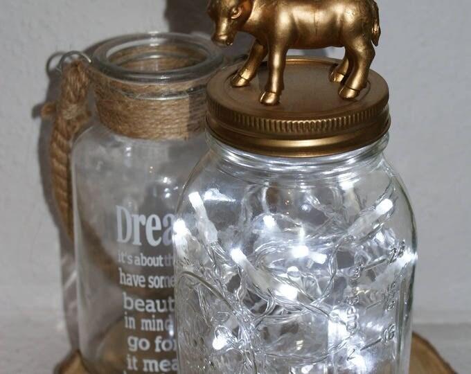 Animal Mason Jar Light Fixture //  Fairy Lights // Kid's Night Light // Bedroom Decor // Baby Shower Gift // Home Decor // Interesting Gifts