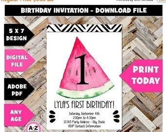 60% OFF SALE Watermelon Editable Party Invitation, Any Age, Watermelon Party, One, Sweet, Summer, Watercolor, Edit with Adobe Reader, Downlo