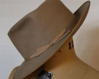 Vintage Taupe Stetson De Luxe Fedora Hat size 6 7/8