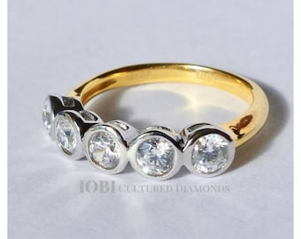 Stella D'ora 1CTW Five Stone Bezel Set IOBI Cultured Diamond Ring