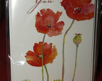 Pack of 5 Field Poppies Thank You Notecards and Envelopes