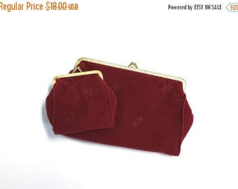 Sale Vintage clutch and matching change purse deep red gold frame Danielle of Canada made in Hong Kong