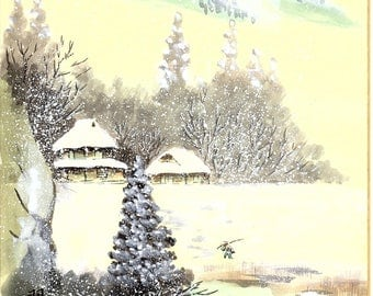 "Japanese handwitten drawing, Minowa Suiko. ""Fallen Snow""."