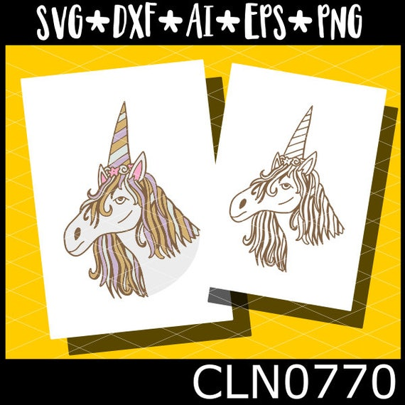 CLN0770 Hand Drawn Unicorn Colored Magical Creatures Lover SVG DXF Ai Eps PNG Vector Instant Download Commercial Cut Files Cricut Silhouette