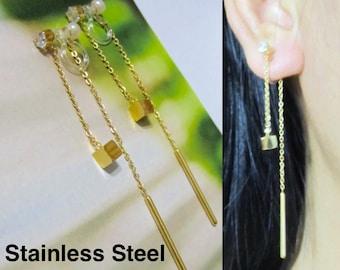 Gold Cube CZ Crystal Stud Clip-On Earrings |29J| Chain Threader Clip On Dangle Earrings Rhinestone Clip Earrings Long Clip-ons Drop Clipons