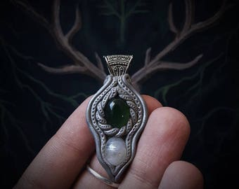 Elven Crystal Pendant with Serpentine and Moonstone /Crystal Pendant/Crystal Jewelry/Handmade/Unique/Pagan/Heathen/Nordic/Necklace