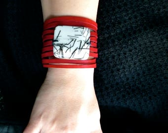 genuine leather cuff bracelet, large red leather strand bracelet and fused glass, women jewelry