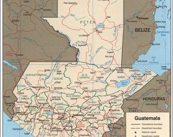 Map Of Guatemala Etsy - Map of guatemala