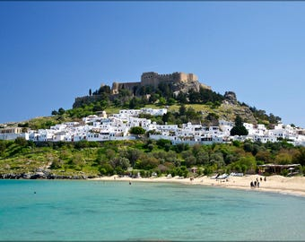 Poster, Many Sizes Available; Village And Castle (Acropolis) Of Lindos, Island Of Rhodes, Greece