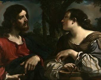 Poster, Many Sizes Available; Guercino Giovanni Francesco Barbieri Christ And The Woman Of Samaria