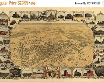 20% Off Sale - Poster, Many Sizes Available; Map Of Fresno, California 1901