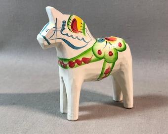 White Swedish Carved Dala Horse