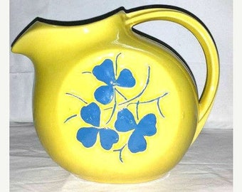 Vintage McCoy Clover Pitcher, Yellow Pottery Pitcher,McCoy Pitcher,Pottery Pitcher,Yellow Pitcher,Made in the USA,Clover,Shamrock,Yellow,MCM