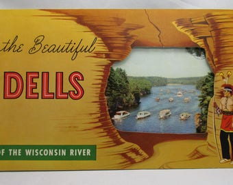Wisconsin Dells Vintage Travel Brochure | 1950's Souvenir Booklet | Wisconsin History | The Beautiful Dells of the Wisconsin River