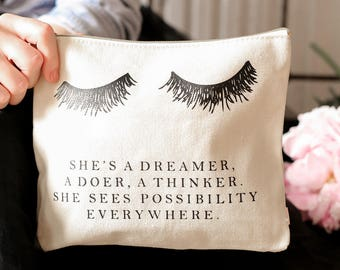 Eyelash Dreamer, Makeup Bag, Makeup, Lashes, Make Up Bag, Makeup Storage, Cosmetic Pouch, Makeup, Back To School, Pencil Pouch, Pencil Bag