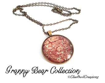 Granny Bear Collection - Orange & Gold Sparkle in Bronze Large Necklace