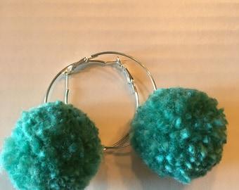 Mermaid pompon earrings