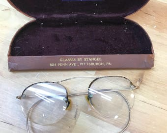 Eyeglasses with leather case vintage gold filled wire rim