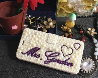 Custom Name Bling Luxury Flip Slot Cards Holder Cute Purple Pearls Lovely Heart  Wallet Leather Crystals Rhinestone Case for Mobile Phones