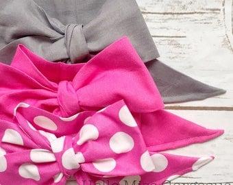 Gorgeous Wrap Trio (3 Gorgeous Wraps)- Platinum, Cherry Blossom & Dottie Bubblegum Gorgeous Wraps; headwraps; fabric head wraps; bows